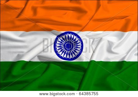 India flag on a silk drape waving
