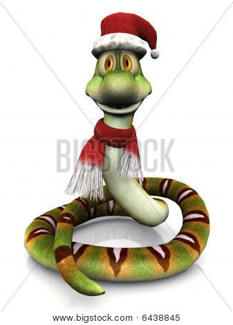 Cartoon Snake Wearing Santa Hat And Scarf.