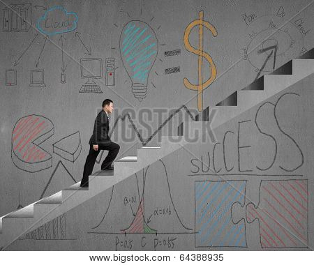 Walking On Stairs With Business Doodles