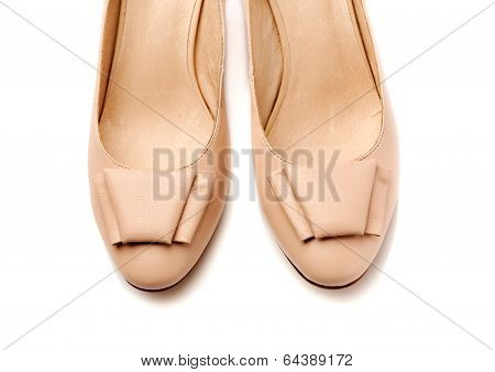 Pair Of Women's Shoes Leather Beige Closeup.