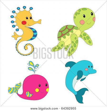 Cartoon sea creatures.