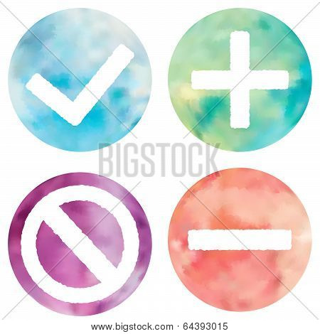 Watercolor Buttons Set.