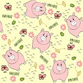 picture of baby pig  - babies hand draw seamless pattern with pigs - JPG