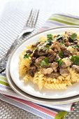 picture of morels  - Spiral pasta with morel mushrooms and parsley leaves