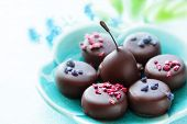 picture of truffle  - Assortment of fine chocolates dark and milk chocolate and truffle - JPG