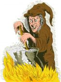stock photo of warlock  - hand drawn illustration of a Witch stirring cooking brew pot - JPG
