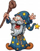 image of clip-art staff  - Cartoon wizard - JPG