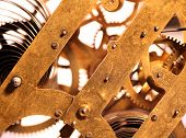 picture of wind up clock  - Close up of an internal clock mechanism - JPG