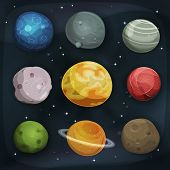 foto of starry  - Illustration of a set of various comic planets moons asteroid and earth globes on scifi starry space background - JPG