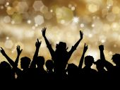 picture of christmas party  - Silhoeutte of an excited crowd on a Christmas background - JPG