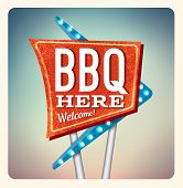 stock photo of marquee  - Retro Neon Sign BBQ lettering in the style of American roadside advertising vintage style 1950s - JPG