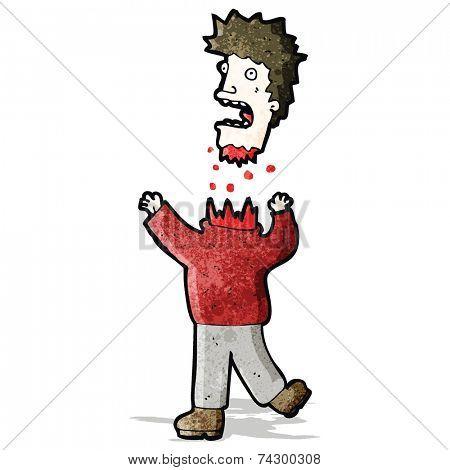 cartoon man with severed head