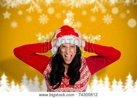 Irritated woman looking at camera against blurred fir tree background