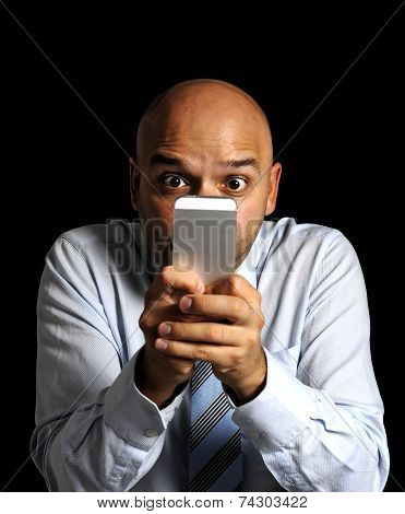 Close Up Friendly Businessman Face Using Compulsively Online Cell Phone