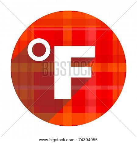 fahrenheit red flat icon isolated