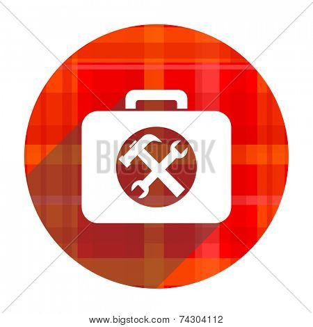 toolkit red flat icon isolated