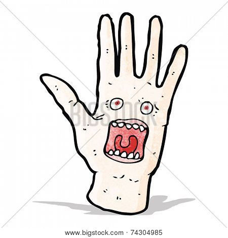 scary shrieking hand cartoon