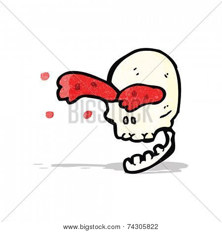 gross blood squirting skull cartoon