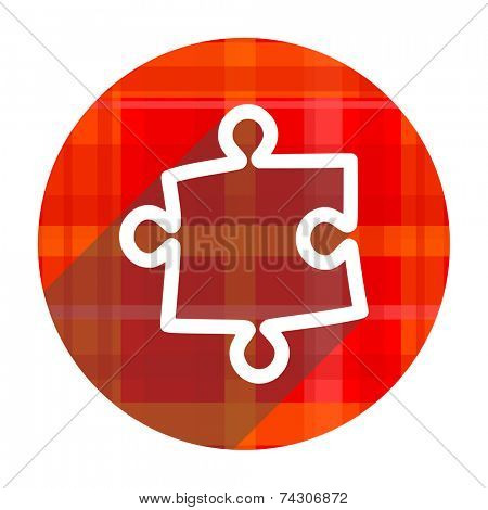 puzzle red flat icon isolated