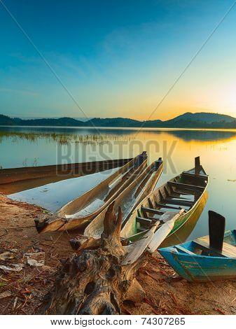 View of a Lak lake at sunrise