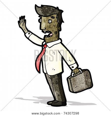 cartoon businessman in a rush