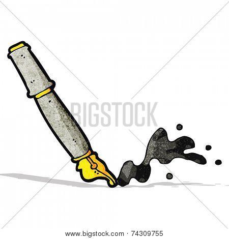 messy fountain pen cartoon