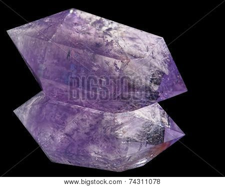 Amethyst Crystal On Black Glass