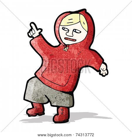 cartoon boy in hooded sweatshirt dancing