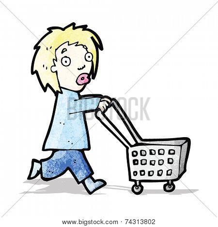 cartoon woman pushing shopping trolley