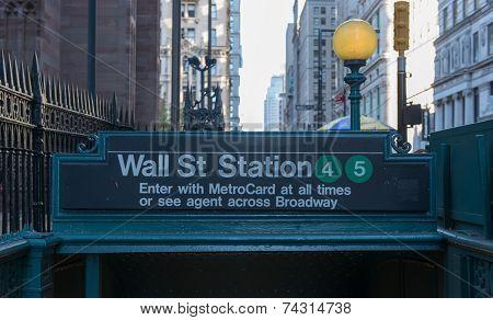 Subway Entrance, Wall Street, New York