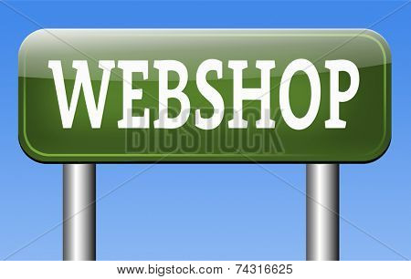 webshop online shopping at internet web store or shop buy or sell online