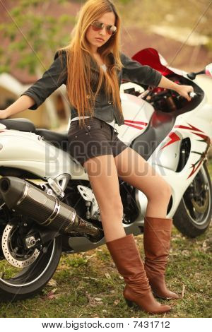 Beautiful Woman On Motorcycle