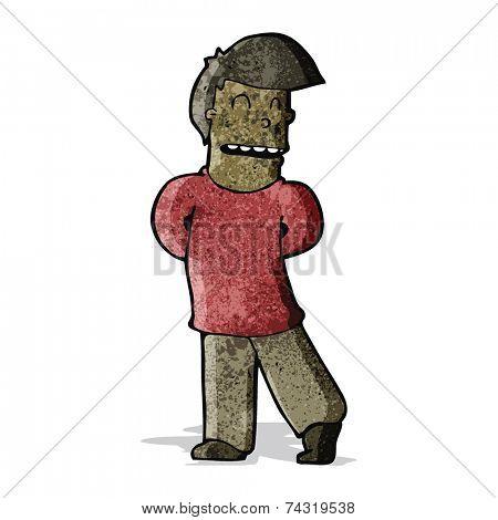 cartoon shy man