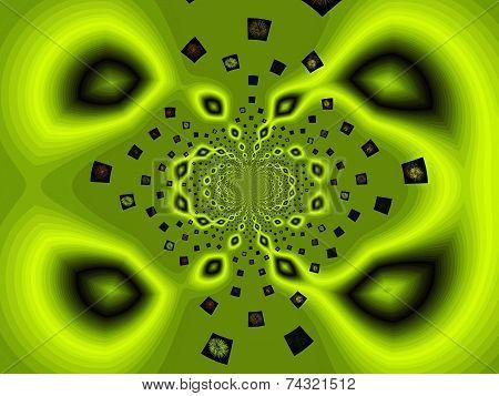 Green texture, geometric form.