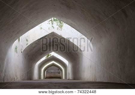 sumur gumantung the underground walkway tunnel taman sari water castle - the royal garden of sultana