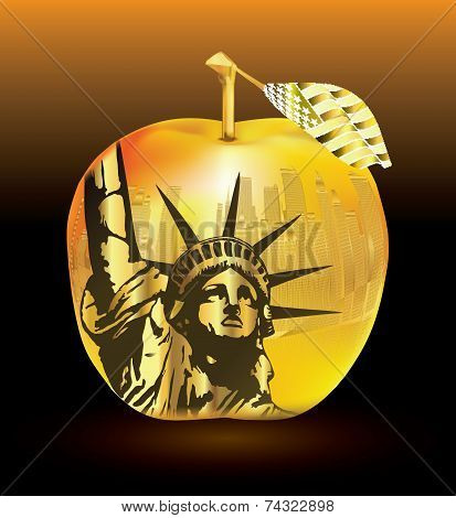 Gold apple-Big apple New York and statue vector