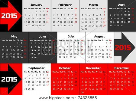 Infographic calendar 2015 with arrows