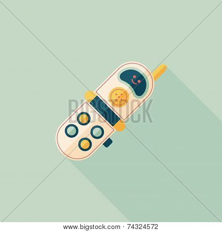 Toy Phone Flat Icon With Long Shadow