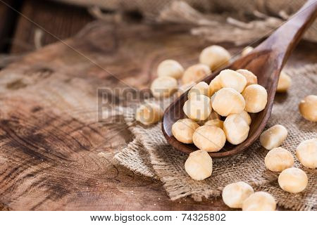 Wooden Spoon With Macadamia Nuts
