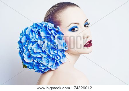 Beautiful Lady With Hydrangea