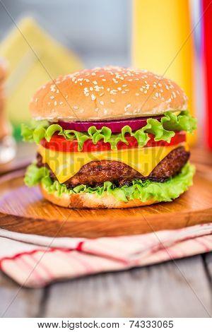 Tasty and appetizing hamburger cheeseburger