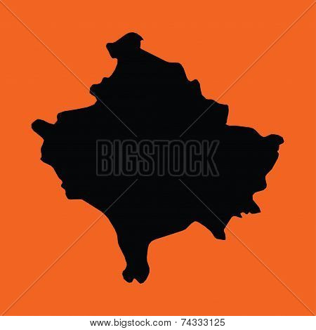 Illustration On An Orange Background Of Kosovo