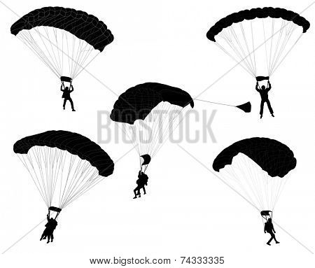 skydivers silhouettes collection
