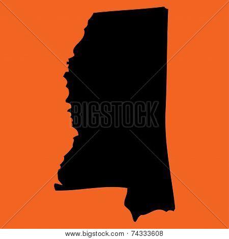Illustration On An Orange Background Of Mississippi