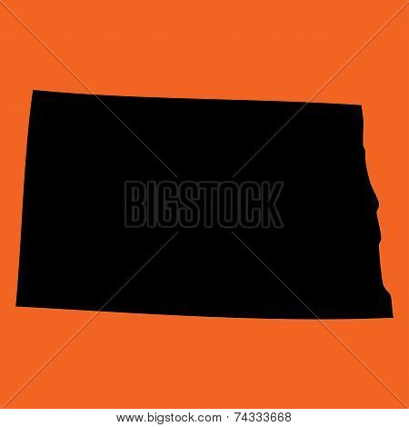 Illustration On An Orange Background Of North Dakota