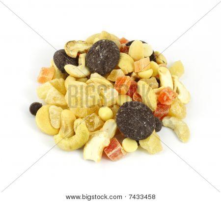 Overhead View Fruit Nut Mixture