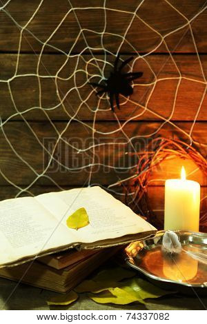 Halloween decoration with spider on web, old book, bowl with water and candles on wooden background