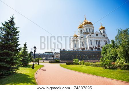 Cathedral of Christ the Savior with green trees