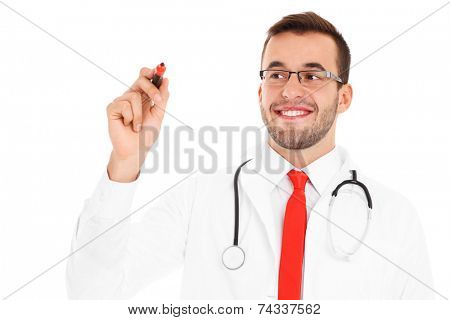 A picture of a happy doctor writing on board over white background