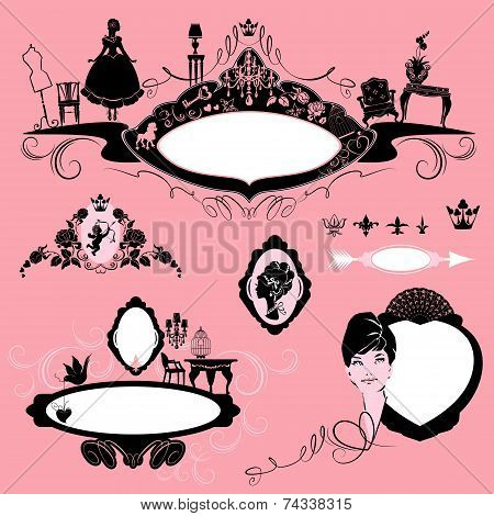 Frames With Glamour Accessories, Furniture, Girl Portrait  - Black Silhouettes On Pink Background. S